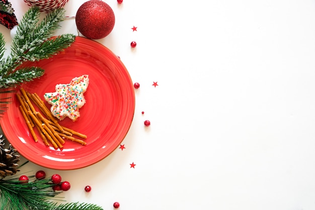 Christmas white background with edible christmas tree and empty space