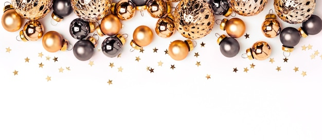 Christmas white minimalistic background. shining gold and gray balls and confetti border.