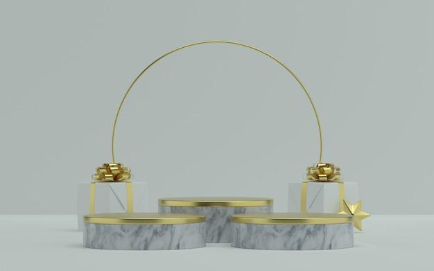Рождественский белый этап продукта с золотым акцентом и подарочными коробками. 3d иллюстрация