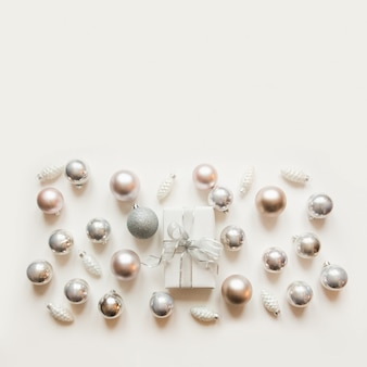Christmas white and silver decoration, balls, gift box