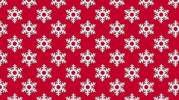 빨간색 배경 패턴에 크리스마스 하얀 눈송이