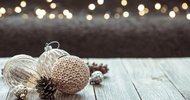 Christmas winter background with balls for a tree copy space.