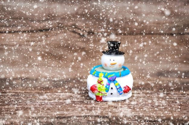 Christmas winter background with snowman in winter christmas landscape