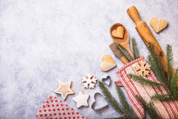 Christmas winter baking concept, ingredients for making cookies, baking, pies.
