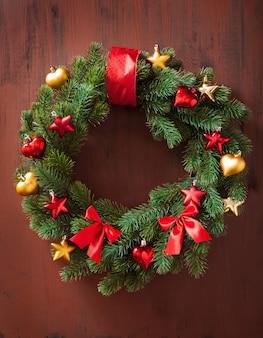 Christmas winter decoration wreath fir tree star