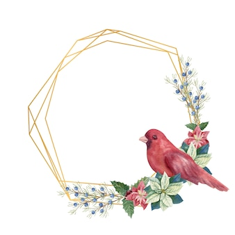 Christmas winter illustration. polygonal frame with watercolor poinsettia flowers, fir twigs, red bird, cones, blue and red berries