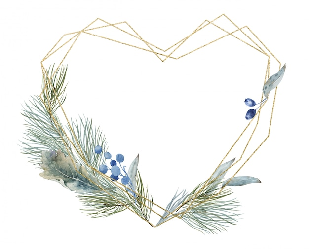 Christmas winter and spring golden heart valentines crystal polygonal frame with pine, fir branches. eucalyptus leaves and flowers. banner template for new year holidays for invitation, greeting