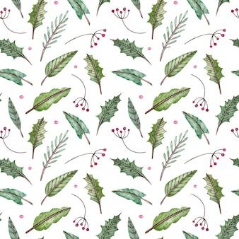 Christmas winter watercolor pattern