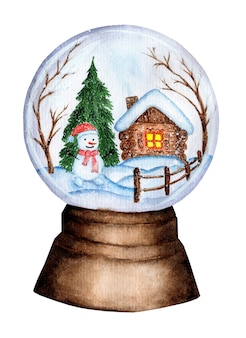 Christmas winter watercolor snow globe with hut and fence snowman spruce and trees glass ball