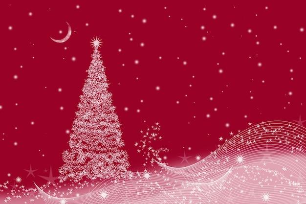 Рождество с елкой и полумесяцем на красном.