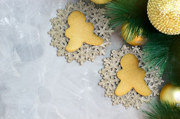 Christmas with gingerbread cookies, christmas tree branch
