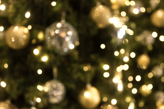 Christmas with gold bokeh light background. xmas abstract blur