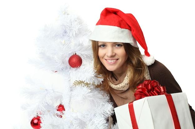 크리스마스-선물 상자 산타 모자에있는 여자