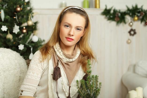 크리스마스 여자-휴가 준비