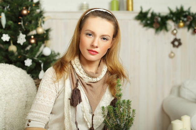 Christmas woman - preparation for the holiday