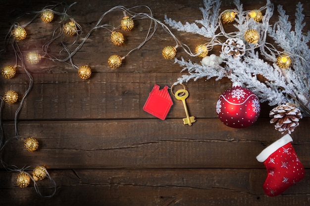 Christmas wooden background with decorations