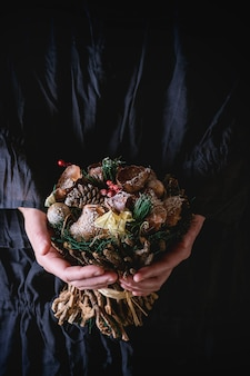 Christmas wooden bouquet