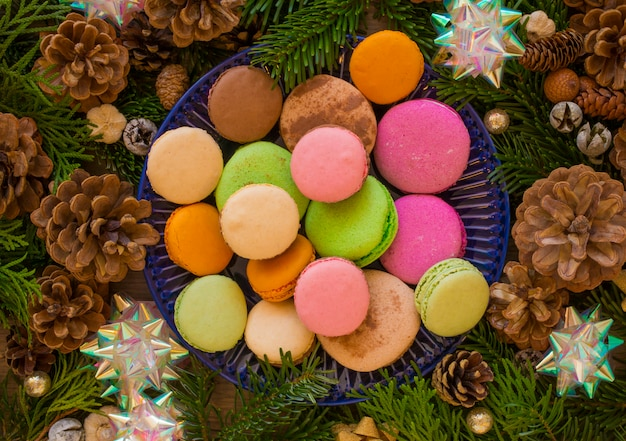 Christmas wooden  with fir tree and macaron.