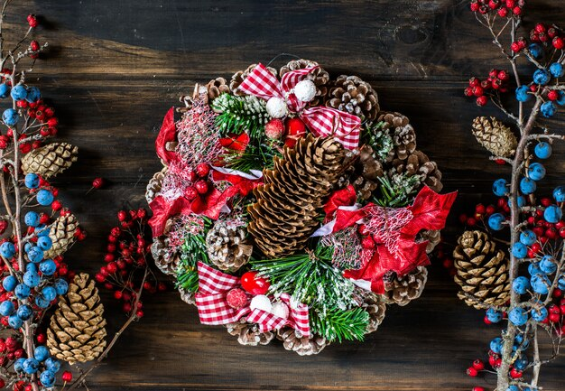 Christmas wreath. christmas background copy space. new year background.