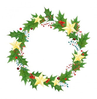 Christmas wreath or frame with holly berries, leaves and golden stars painted in watercolor
