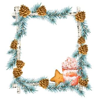 빈티지 스타일의 크리스마스 화환. 가문비 나무 지점, 뜨거운 음료, 초콜릿, 마쉬 멜로우, 흰색 배경에 고립 된 쿠키와 휴일 프레임