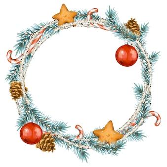 빈티지 스타일의 크리스마스 화환. 가문비 나무 가지, 자작 나무, 쿠키 흰색 절연 라운드 프레임
