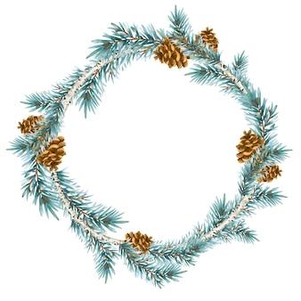 빈티지 스타일의 크리스마스 화환. 가문비 나무 분기 흰색 절연 라운드 프레임