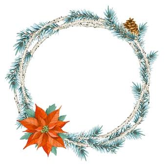 빈티지 스타일의 크리스마스 화환. 가문비 나무 가지, 포인세티아, 자작 나무 흰색 절연 라운드 프레임