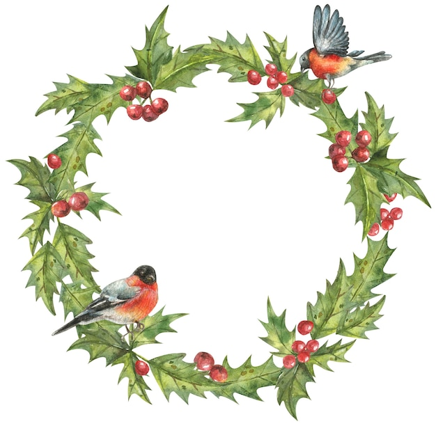 Christmas wreath of leaves and red berries and cute birdshanddrawn