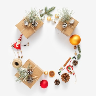 Christmas  wreath made christmas decoration white  top view new year flat lay