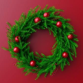 Рождественский венок из ягод и вечнозеленых растений. красные шары и фон. 3d рендеринг