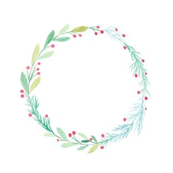 Рождественский венок акварельной живописи, изолированные на белом