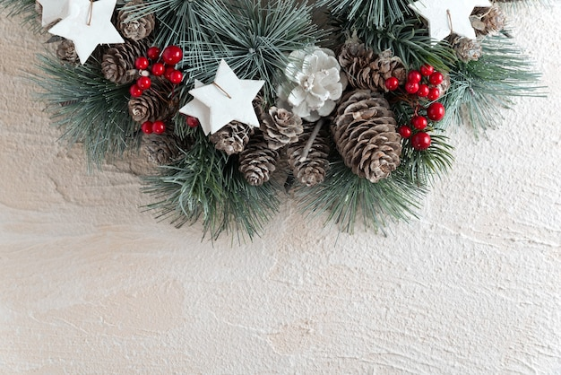 Christmas wreath on white background. new year pattern copy space.