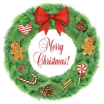 白い背景で隔離の装飾とクリスマスリース