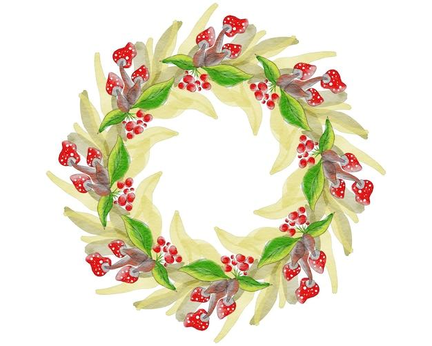 葉、ベリー、キノコのクリスマスリース。手描きの水彩風