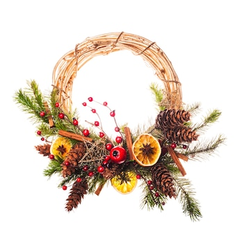 Christmas wreath with red berries and spices