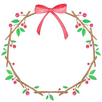 赤いリボンのクリスマスリース水彩イラスト手作り