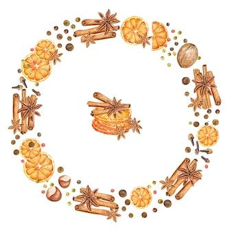 Рождественский венок с акварельными апельсинами, звездочками аниса, перцем и палочками корицы.