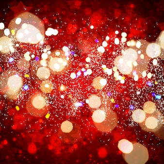 ボケ味のクリスマスの黄色いライトは、クリスマスの赤い背景の焦点をぼかす