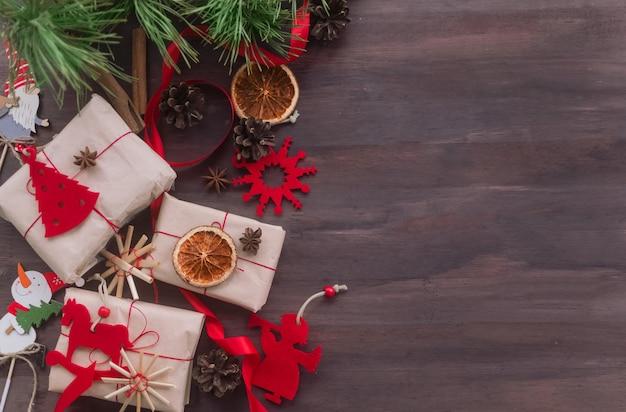 Christmas zero waste concept handmade gifts made of kraft paper threadnatural red felt
