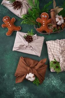 Рождественская экологически чистая упаковка для подарочной коробки furoshiki без отходов
