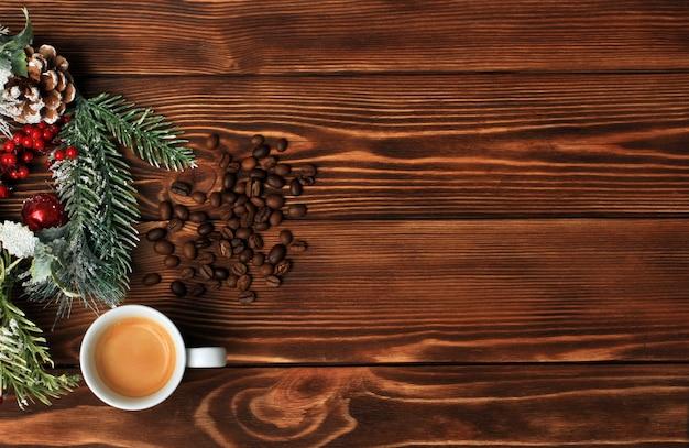 コーヒー愛好家のためのメリーchrmerryクリスマスと幸せな新年の背景。