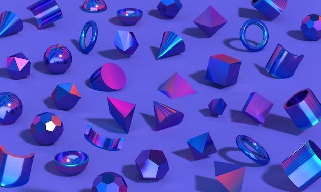 무지개 빛깔의 반사가 있는 크롬 기하학적 모양 구형 사각형 삼각형