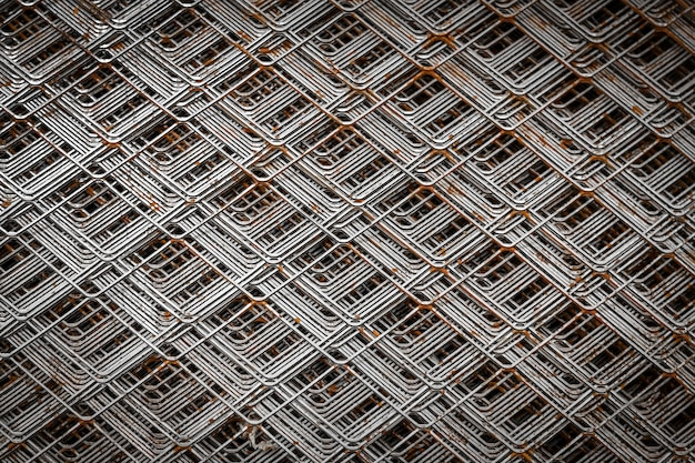 Chrome grille detail for building. close up pattern of a furnace filter.