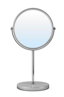 흰색 바탕에 크롬 화장 거울