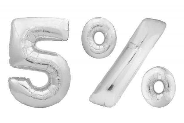 白い背景に分離されたインフレータブルバルーンのクロム数0。フルナンバーセットの1つ