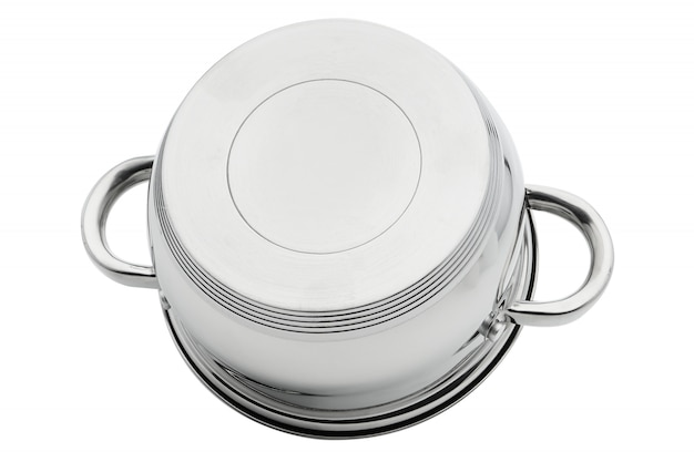 Chrome-plated silver iron pan turned upside down isolate on a white background. cookware.