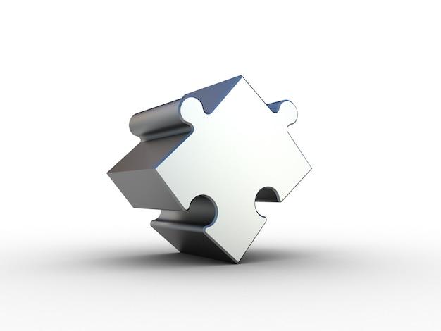 Головоломка chrome на белом. 3d иллюстрации