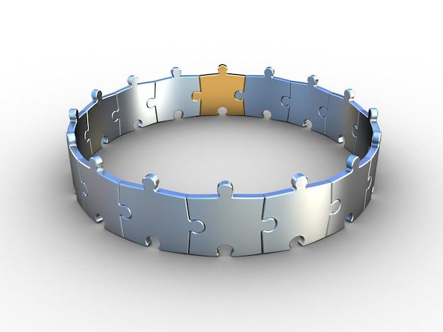 Chrome puzzle on white. 3d illustration