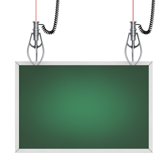 Chrome robotic claws with green chalkboard in the frame for yourth design on a white background. 3d rendering.